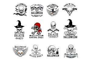 Halloween costume party skull vector icons