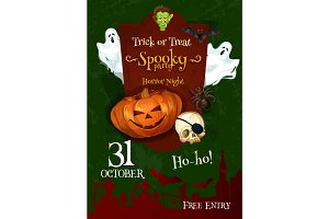 Halloween trick or treat ghost party vector poster