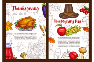 Thanksgiving day sketch holiday vector posters