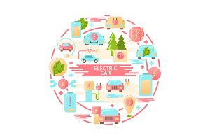 Electric car flat vector icons