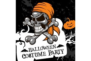 Halloween vector poster costume party skull
