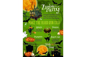 Halloween horror party banner with ghost house