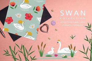 Swan Patterns, Invites, Wall Arts