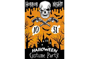 Halloween vector poster horror skull party