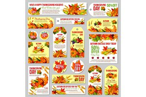 Thanksgiving sale tag for discount offer design