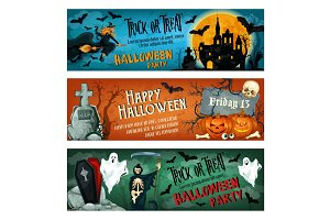 Halloween horror party banner for october holiday