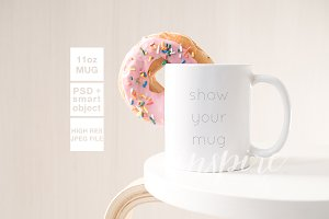11oz Ceramic Mug Mockup + Donut PSD