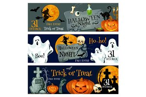Halloween holiday spooky ghost and pumpkin banner