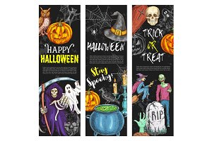 Halloween vector banners trick or treat sketch