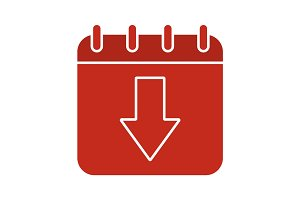 Download calendar glyph color icon