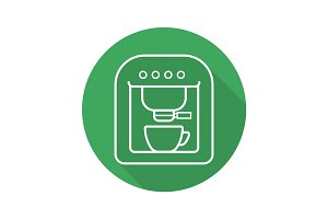 Espresso machine flat linear long shadow icon