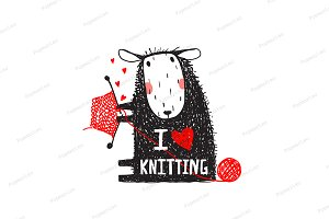 I Love Knitting Sheep Print