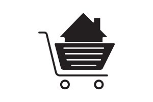 Shopping cart with house inside glyph icon