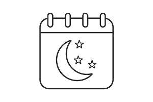 Night calendar linear icon