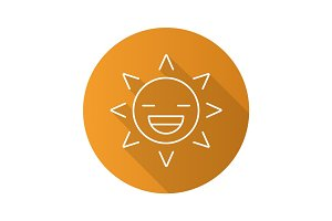 Laughing sun smile flat linear long shadow icon