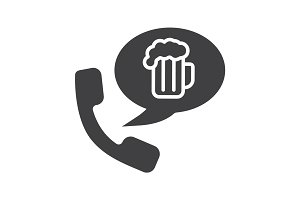 Beer order by phone glyph icon