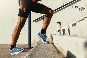 Close up of legs of runner.