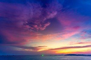 Beautiful tropical sunset in Krabi, Thailand