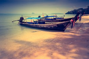 Long boat and tropical beach. Andaman Sea Thailand
