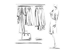 Hand drawn wardrobe sketch. Clothes on the hangers. Mannequin in the shop