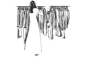 Hand drawn wardrobe sketch. Clothes on the hangers. Girl in the shop