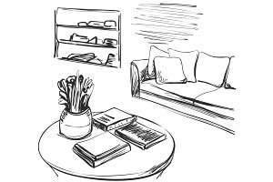 Hand drawn room interior. Sofa and table. Books