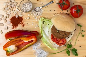 Vegan burger preparation