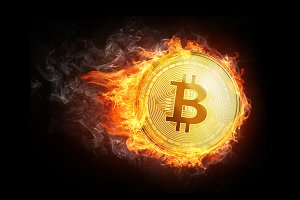 Golden bitcoin coin flying in fire flame.