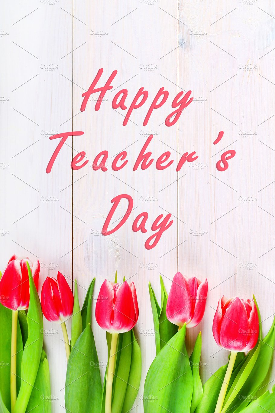 Happy Teachers Day With Tulip Flower Message For Teacher In Special