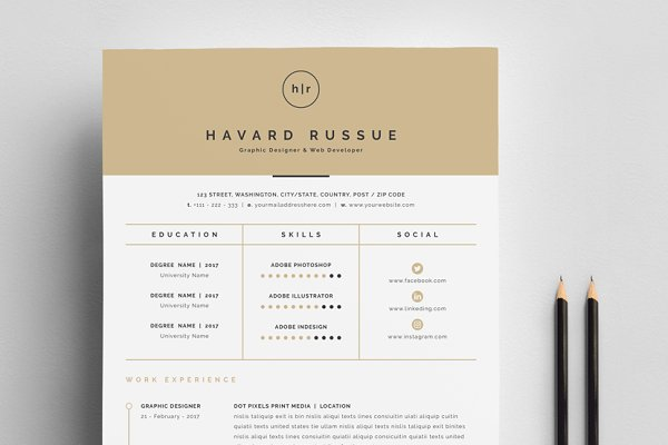 resume templates creative market - Graphic Design Resume Template