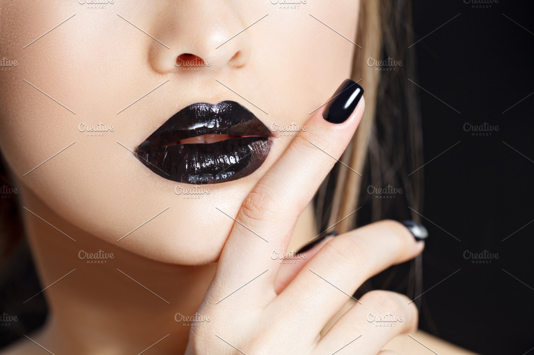 Beautiful Fashion woman model face portrait with black lipstick and ...