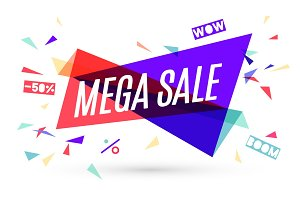 Ribbon banner with text Mega Sale