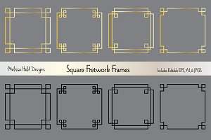 Silver & Gold Square Fretwork Frames