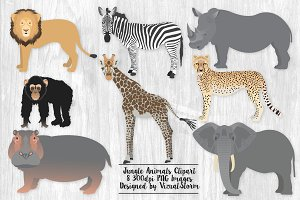Jungle Animal Clip Art Illustrations