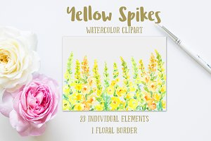 Watercolor Yellow Spikes