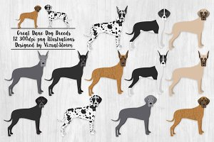 Great Dane Dog Breed Illustrations