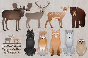 Woodland Animal Clipart Graphics