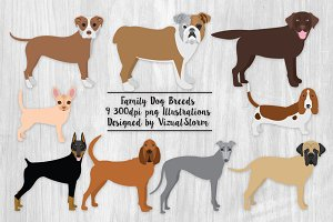 Family Dog Breeds Clipart Graphics