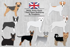 British Terrier Dog Breeds Clipart