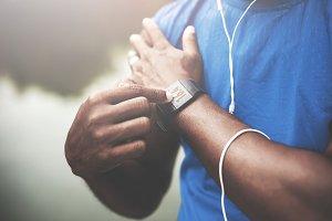 Sport man Podcast Athlete concept