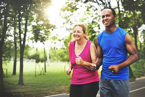Couple jogging together in the park