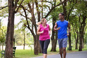 Couple exercise together
