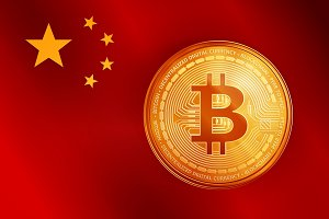 Golden bitcoin coin symbol on the China flag.