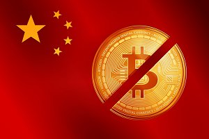 Crossed out golden bitcoin coin symbol on the China flag.