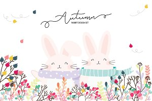 Autumn Rabbit(Bunny) Design set