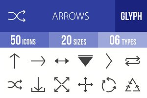 50 Arrows Glyph Icons