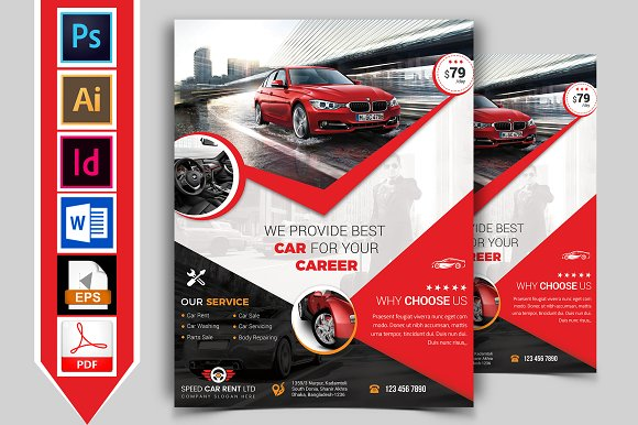 Rent A Car Flyer Template V-Graphicriver中文最全的素材分享平台