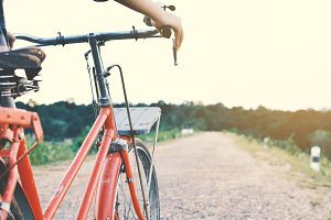 hipster women with bicycle