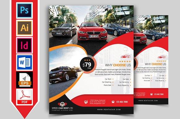 rent a car flyer template vol 09 flyer templates creative market
