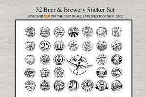 Beer & Brewery Sticker Vintage Set